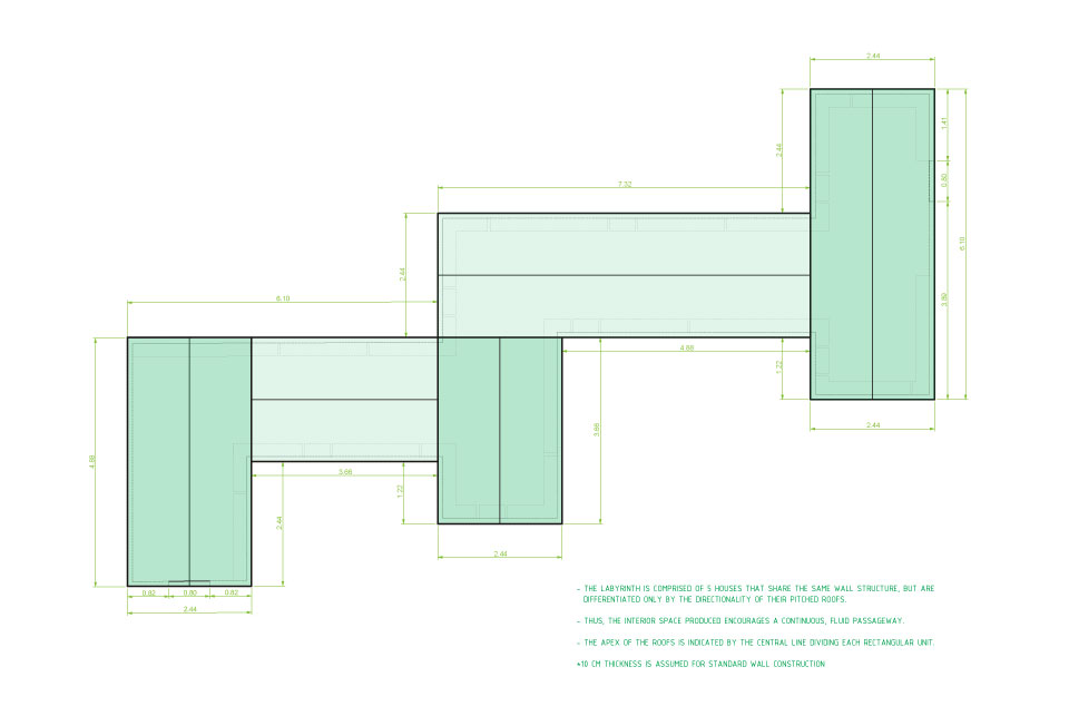 9C_STUDIO E+D_HOUSE LABYRINTH_ROOF PLAN AND WALL DIMENSIONS